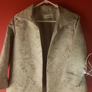Calvin Klein dress occasion jacket; silvery white